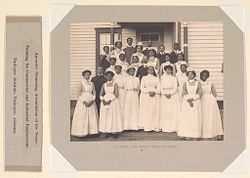 Races, Negroes: United States. Alabama. Tuskegee. Tuskegee Institute: Agencies Promoting Assimilation of the Negro. Training for Commercial and Industrial Employment. Tuskegee Institute, Tuskegee, Alabama: Hospital and Nurse Training School..   Social Museum Collection