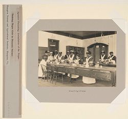 Races, Negroes: United States. Virginia. Hampton. Hampton Normal and Industrial School: Agencies Promoting Assimilation of the Negro. Training Negro Girls in Domestic Service. Hampton Normal and Agricultural Institute, Hampton, Va.: Cooking Class..   Social Museum Collection