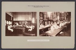 Charity, Children: United States. New York. Pleasantville. Hebrew Sheltering Guardian Society: Hebrew Sheltering Guardian Society Orphan Asylum, Pleasantville, New York: Millinery and art classes in the Girls' Technical School..   Social Museum Collection