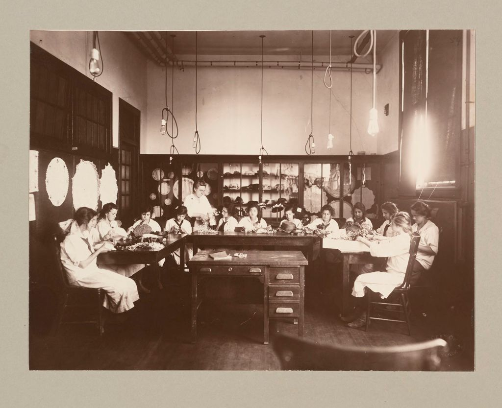 Charity, Children: United States. New York. Pleasantville. Hebrew Sheltering Guardian Society: Hebrew Sheltering Guardian Society Orphan Asylum, Pleasantville, New York: Millinery And Art Classes In The Girls' Technical School.