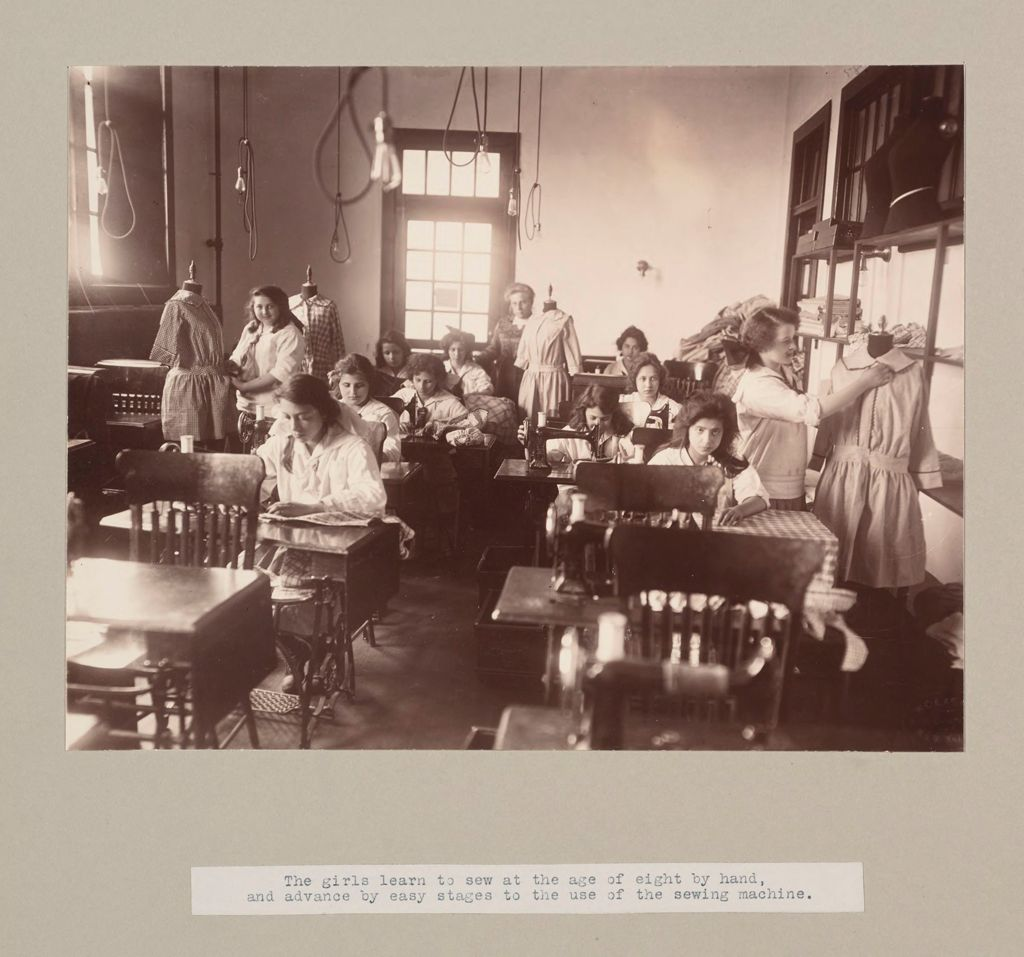 Charity, Children: United States. New York. Pleasantville. Hebrew Sheltering Guardian Society: Hebrew Sheltering Guardian Society Orphan Asylum, Pleasantville, New York: The Girls Learn To Sew At The Age Of Eight By Hand, And Advance By Easy Stages To The Use Of The Sewing Machine.