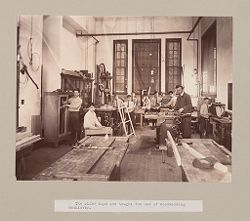 Charity, Children: United States. New York. Pleasantville. Hebrew Sheltering Guardian Society: Hebrew Sheltering Guardian Society Orphan Asylum, Pleasantville, New York: The older boys are taught the use of woodworking machinery..   Social Museum Collection