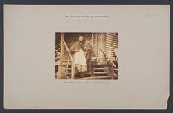 Charity, Aged: United States. New York. New York City. Home for Aged and Infirm, Manhattan Division, Blackwell's Island: New York City Home for the Aged and Infirm: Old Married Couple Leaving Their Cottage..   Social Museum Collection