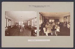 Charity, Children: United States. New York. Pleasantville. Hebrew Sheltering Guardian Society: Hebrew Sheltering Guardian Society Orphan Asylum, Pleasantville, New York: The children and staff eat in the same dining-room at family tables..   Social Museum Collection