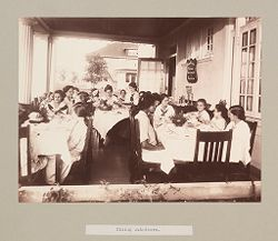 Charity, Children: United States. New York. Pleasantville. Hebrew Sheltering Guardian Society: Hebrew Sheltering Guardian Society Orphan Asylum, Pleasantville, New York: Dining out-doors..   Social Museum Collection