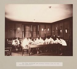 """Charity, Children: United States. New York. Pleasantville. Hebrew Sheltering Guardian Society: Hebrew Sheltering Guardian Society Orphan Asylum, Pleasantville, New York: The """"big brothers"""" are writing letters home for the """"little brothers."""".   Social Museum Collection"""