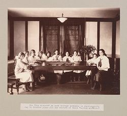 """Charity, Children: United States. New York. Pleasantville. Hebrew Sheltering Guardian Society: Hebrew Sheltering Guardian Society Orphan Asylum, Pleasantville, New York: The """"big sisters"""" in each cottage assemble in regular meeting to discuss plans for the welfare of their """"little sisters."""".   Social Museum Collection"""