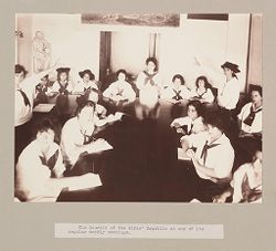 Charity, Children: United States. New York. Pleasantville. Hebrew Sheltering Guardian Society: Hebrew Sheltering Guardian Society Orphan Asylum, Pleasantville, New York: The Council of the Girls' Republic at one of its regular weekly meetings..   Social Museum Collection
