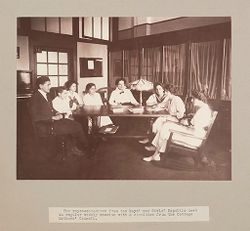 Charity, Children: United States. New York. Pleasantville. Hebrew Sheltering Guardian Society: Hebrew Sheltering Guardian Society Orphan Asylum, Pleasantville, New York: The representatives from the Boys' and Girls' Republic meet in regular weekly session with a committee from the Cottage Mothers' Council..   Social Museum Collection