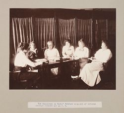 Charity, Children: United States. New York. Pleasantville. Hebrew Sheltering Guardian Society: Hebrew Sheltering Guardian Society Orphan Asylum, Pleasantville, New York: The Committee on Girls' Welfare composed of several cottage mothers and an M. D..   Social Museum Collection