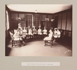 "Charity, Children: United States. New York. Pleasantville. Hebrew Sheltering Guardian Society: Hebrew Sheltering Guardian Society Orphan Asylum, Pleasantville, New York: The ""little sisters"" hold a meeting..   Social Museum Collection"