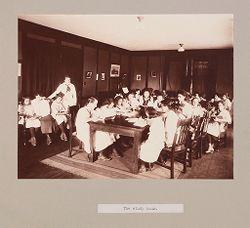 Charity, Children: United States. New York. Pleasantville. Hebrew Sheltering Guardian Society: Hebrew Sheltering Guardian Society Orphan Asylum, Pleasantville, New York: The study hour..   Social Museum Collection