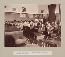 Charity, Children: United States. New York. Pleasantville. Hebrew Sheltering Guardian Society: Hebrew Sheltering Guardian Society Orphan Asylum, Pleasantville, New York: A high school class. The average age at graduation is below sixteen years..   Social Museum Collection