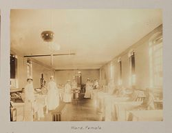Charity, Hospitals: United States. New York. New York City. Metropolitan Hospital, Blackwell's Island: Metropolitan Hospital, New York City: Tuberculosis Infirmary.: Ward, Female..   Social Museum Collection