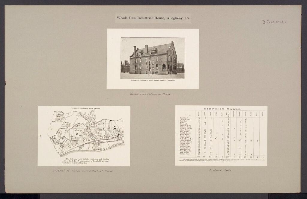 Social Settlements: United States. Pennsylvania. Allegheny. Wood Run Industrial House: Wood Run Industrial House, Allegheny, Pa.
