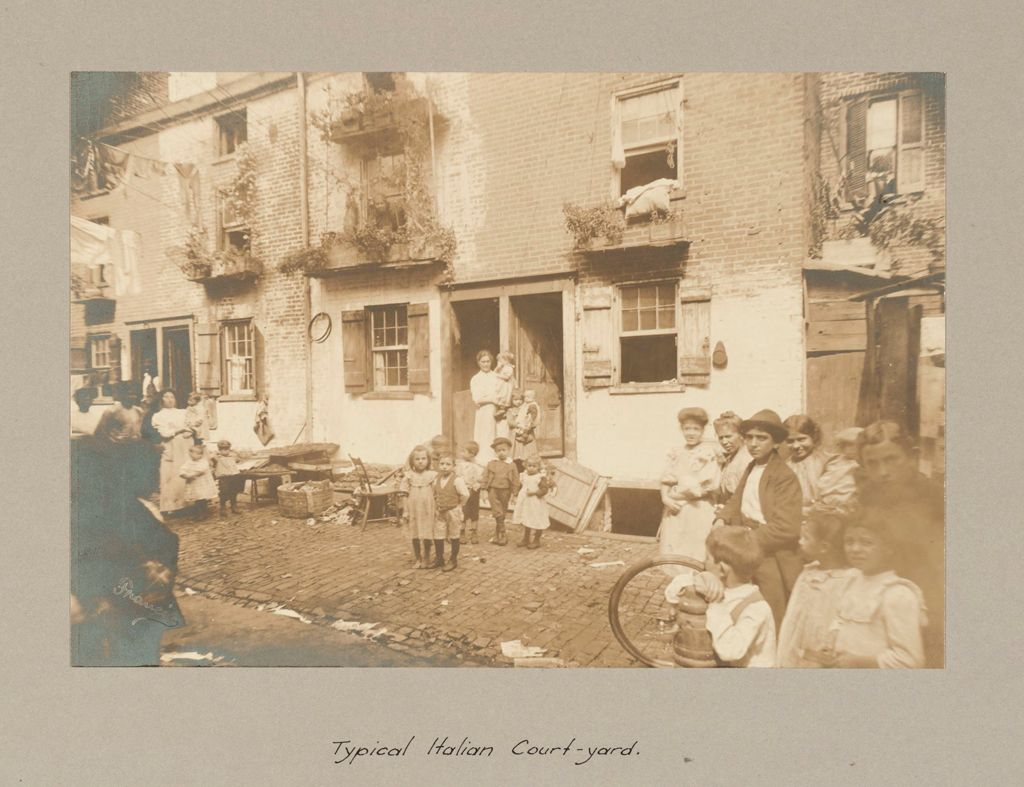 Social Settlements: United States. Pennsylvania. Philadelphia. The College Settlement: Environment After Immigration. Perpetuation Of European Standards In America. The College Settlement, Philadelphia, Pa.: Typical Italian Court-Yard.