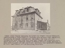 Housing, Conditions: United States. Wisconsin. Milwaukee. Tenements: Housing Conditions: Milwaukee. Three story fame building occupied by forty-four persons..   Social Museum Collection