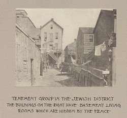 Housing, Conditions: United States. Wisconsin. Milwaukee. Tenements: Housing Conditions: Milwaukee: Tenement group in the Jewish district..   Social Museum Collection