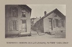 Housing, Conditions: United States. Wisconsin. Milwaukee. Tenements: Housing Conditions: Milwaukee: Tenements crowded on a lot leaving no free yard space..   Social Museum Collection