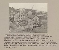 Housing, Conditions: United States. Wisconsin. Milwaukee. Tenements: Housing Conditions: Milwaukee: Typical rear dwelling sought out by groups of foreigners..   Social Museum Collection