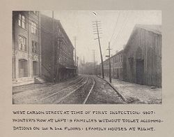 Housing, Conditions: United States. Pennsylvannia. Pittsburgh. Houses; Streets; Yards: Housing Conditions, Pittsburgh. Pa.: West Carson Street at time of first inspection: 1907..   Social Museum Collection