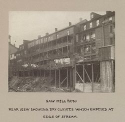 Housing, Conditions: United States. Pennsylvannia. Pittsburgh. Houses; Streets; Yards: Housing Conditions, Pittsburgh. Pa.:  Saw mill run..   Social Museum Collection