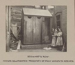 Housing, Conditions: United States. Pennsylvannia. Pittsburgh. Houses; Streets; Yards: Housing Conditions, Pittsburgh. Pa.: Stewart's Row: Houses dilapidated..   Social Museum Collection