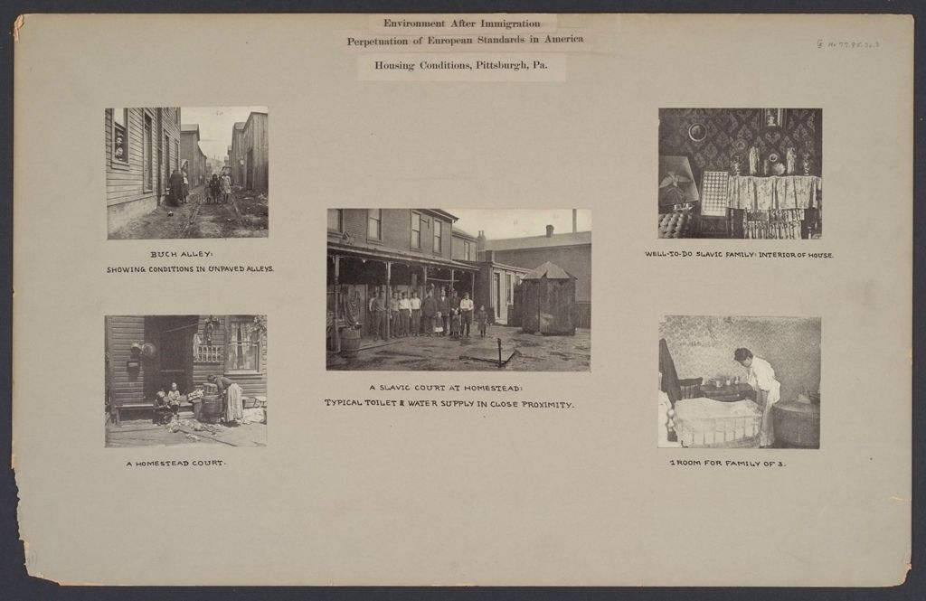 Housing, Conditions: United States. Pennsylvannia. Pittsburgh. Houses; Streets; Yards: Environment After Immigration, Perpeptuation Of European Standards In America: Housing Conditions, Pittsburgh. Pa.