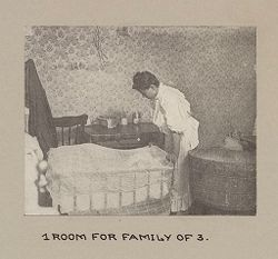 Housing, Conditions: United States. Pennsylvannia. Pittsburgh. Houses; Streets; Yards: Environment After Immigration, Perpeptuation of European Standards in America.  Housing Conditions, PIttsburgh, Pa.: 1 Room for Family of 3..   Social Museum Collection