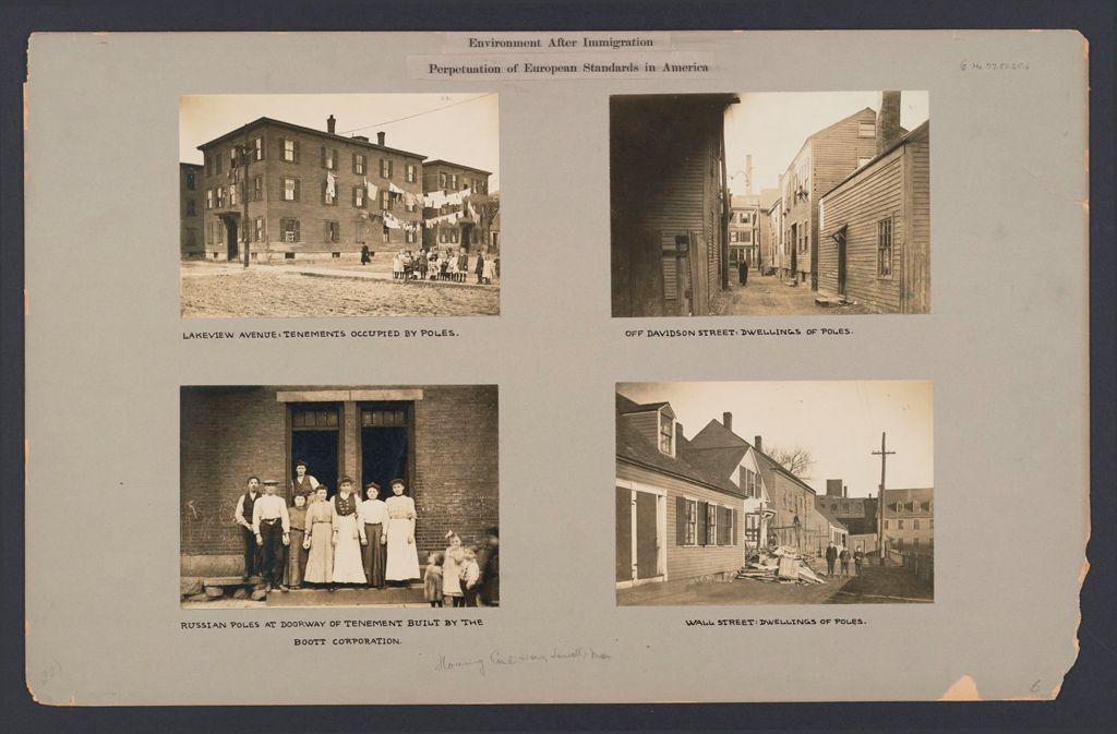 Housing, Conditions: United States. Massachusetts. Lowell. Tenements In French, Greek And Polish Districts: Environment After Immigration, Perpetuation Of European Standards In America