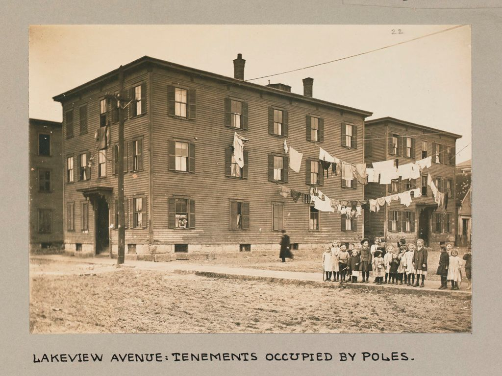 Housing, Conditions: United States. Massachusetts. Lowell. Tenements In French, Greek And Polish Districts: Environment After Immigration, Perpetuation Of European Standards In America: Lakeview Avenue: Tenements Occupied By Poles.