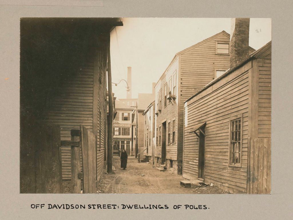 Housing, Conditions: United States. Massachusetts. Lowell. Tenements In French, Greek And Polish Districts: Environment After Immigration, Perpetuation Of European Standards In America: Off Davidson Street: Dwellings Of Poles.