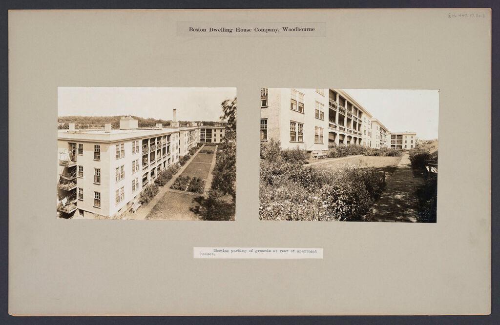 Housing, Improved: United States. Massachusetts. Boston. Boston Dwelling House Company. Woodbourne: Boston Dwelling House Company, Woodbourne.