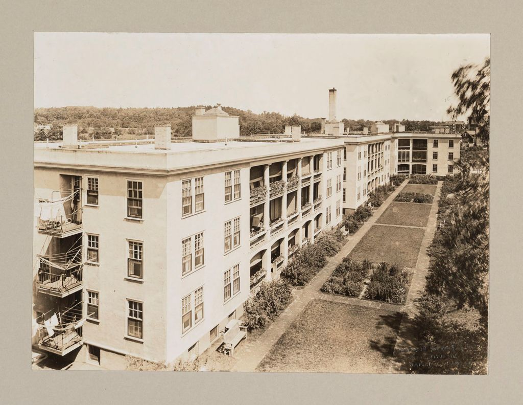 Housing, Improved: United States. Massachusetts. Boston. Boston Dwelling House Company. Woodbourne: Boston Dwelling House Company, Woodbourne: Showing Parking Of Grounds At Rear Of Apartment Houses.