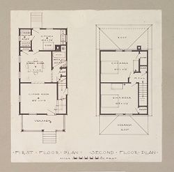 Housing, Industrial: United States. Massachusetts. Framingham. Dennison Manufacturing Company: Industrial Housing, Detached Dwellings Frame Constrruction: Dennison Manufacturing Company, Framingham, Massachusetts: Floor Plan 2..   Social Museum Collection