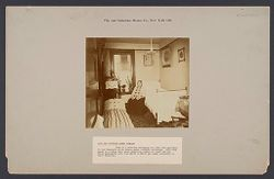 """Housing, Improved: United States. New York. New York City. """"City and  Suburban Homes Co."""": City and Suburban Homes Co., New York City: View of a bed-room belonging to a two room apartment in the Company's First Avenue model tenement building..   Social Museum Collection"""