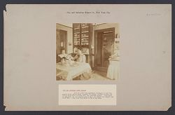 """Housing, Improved: United States. New York. New York City. """"City and  Suburban Homes Co."""": City and Suburban Homes Co., New York City: View of a two room apartment belonging to the Company's First Avenue model tenement buildings, showing kitchen and living room with a private hall and bed-room beyond.  This style of apartment is very popular and to meet the demand the company has built 224.  They rent from $2.25 to $2.50 per week..   Social Museum Collection"""