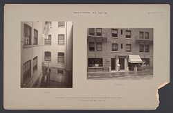 Housing, Improved: United States. New York. New York City. The Misses Stone, New Law Tenement, 1905 (W. Emerson, Architect): Improved Housing: New York City: Improved tenements of 34 East 50th Street. Erected for the Misses Stone. W. Emerson Arch't 1905. Photo 1907..   Social Museum Collection