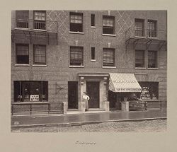 Housing, Improved: United States. New York. New York City. The Misses Stone, New Law Tenement, 1905 (W. Emerson, Architect): Improved Housing: New York City: Improved tenements of 34 East 50th Street. Erected for the Misses Stone. W. Emerson Arch't 1905. Photo 1907.: Entrance..   Social Museum Collection