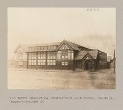 Health, Baths: United States. Massachusetts. Boston. D Street Municipal Gymnasium and Baths: Public Baths in the United States: D Street Municipal Gymnasium and Bath, Boston, Massachusetts..   Social Museum Collection