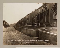 Housing, Industrial: United States. Pennsylvania. Leckrone. H. C. Frick Coke Company: Industrial Housing. Semi-Detached Dwellings. Frame Construction: The H. C. Frick Coke Company. Subsidiary of the United States Steel Corporation: H. C. Frick Coke Co. Subs'd'ry of U.S. Steel Corp'n. 346 - Street Looking North. Leckrone. 8-7-12..   Social Museum Collection