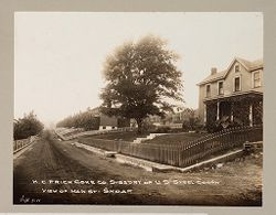 Housing, Industrial: United States. Pennsylvania. Leckrone. H. C. Frick Coke Company: Industrial Housing. Semi-Detached Dwellings. Frame Construction: The H. C. Frick Coke Company. Subsidiary of the United States Steel Corporation: H. C. Frick Coke Co. Subs'd'ry of U.S. Steel Corp'n. View of Main St. - Shoaf. Sept. 7-11..   Social Museum Collection