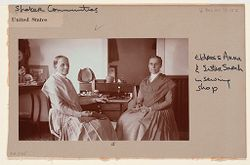 Social Revolution (?): United States. New York. Mt. Lebanon. Shaker Communities: Shaker Communities, United States: II. Eldress Anna and Sister Sarah in sewing shop..   Social Museum Collection