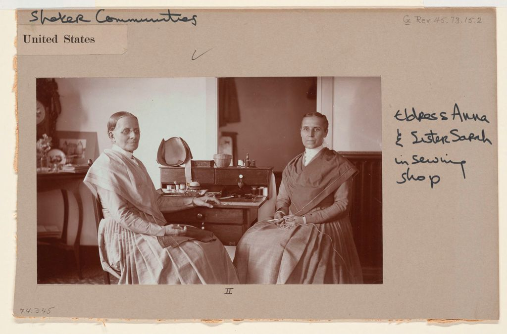 Social Revolution (?): United States. New York. Mt. Lebanon. Shaker Communities: Shaker Communities, United States: Ii. Eldress Anna And Sister Sarah In Sewing Shop.
