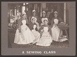 Industrial Problems, Welfare Work: United States. Pennsylvania. Pittsburgh. H.J. Heinz Company: A Sewing Class.   Social Museum Collection