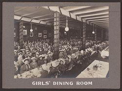 Industrial Problems, Welfare Work: United States. Pennsylvania. Pittsburgh. H.J. Heinz Company: Girls' Dining Room.   Social Museum Collection