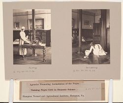 Races, Negroes: United States. Virginia. Hampton. Hampton Normal and Industrial School: Agencies Promoting Assimilation of the Negro. Training Negro Girls in Domestic Science. Hampton Normal and Agricultural Institute, Hampton, Va..   Social Museum Collection