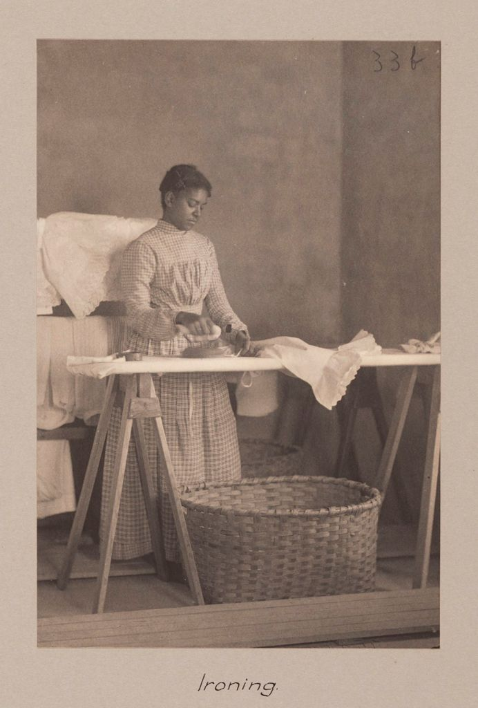 Races, Negroes: United States. Virginia. Hampton. Hampton Normal And Industrial School: Agencies Promoting Assimilation Of The Negro. Training Negro Girls In Domestic Science. Hampton Normal And Agricultural Institute, Hampton, Va.: Ironing.