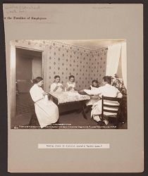 "Industrial Problems, Welfare Work: United States. Pennsylvania. Westmoreland County. H.C.Frick Coke Company: Welfare and Educational Work for the Families of Employees: Sewing class in district nurse's ""model home."".   Social Museum Collection"