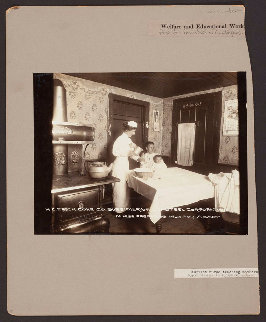Industrial Problems, Welfare Work: United States. Pennsylvania. Westmoreland County. H.c. Frick Coke Company: Welfare And Educational Work For The Families Of Employees: District Nurses Teaching Mothers How To Care For Their Babies.